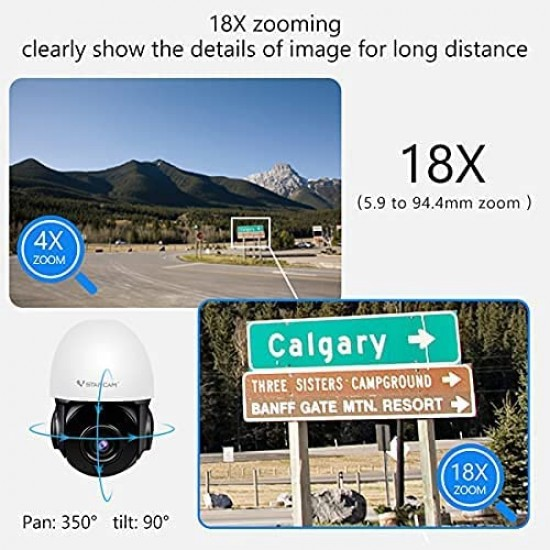 【Free 64Gb TF Card 】CS66Q-X18 18X Zoom 4MP PTZ WIFI Outdoor Camera